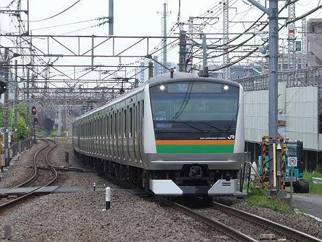 渋谷駅高架化工事に伴うE233系の特別快速 大崎行き