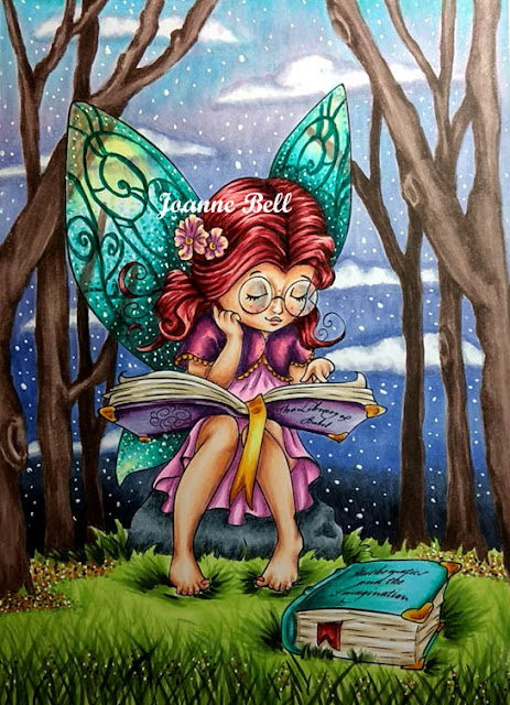 completed bookworm fairy scene coloured with copic markers