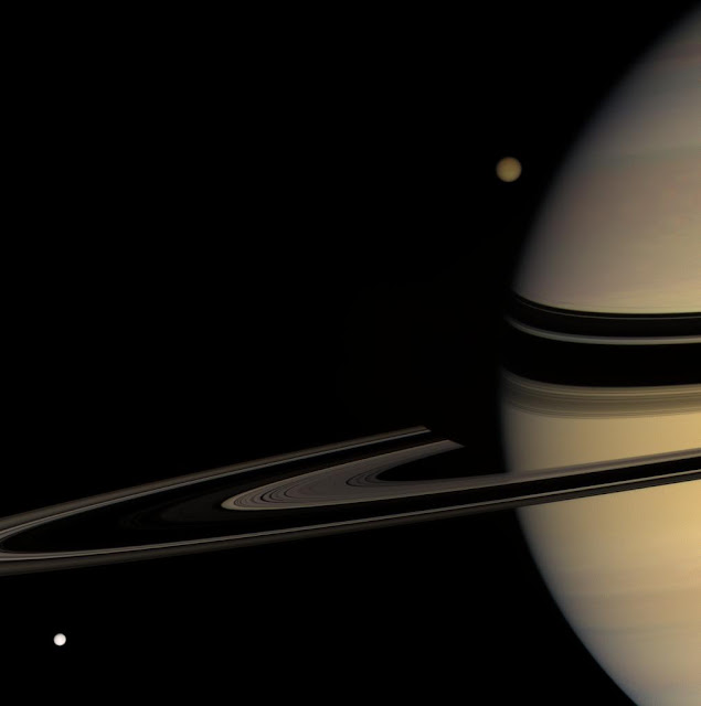 Saturn, Titan and Tethys