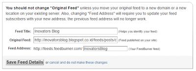 Klik save feed details