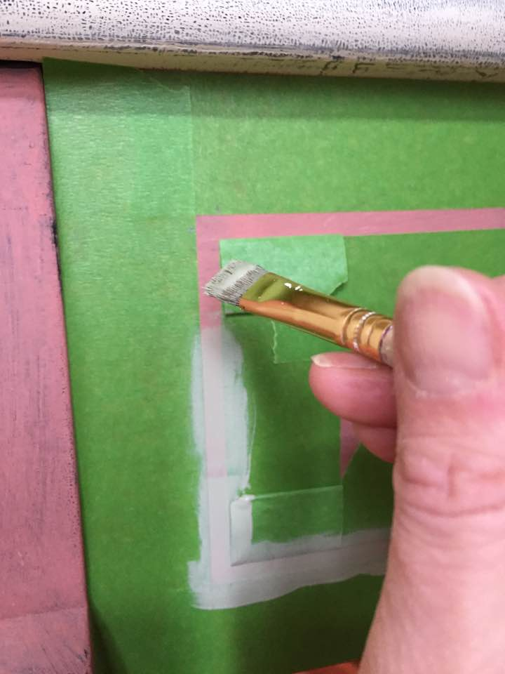Painter's tape used to mask off border.