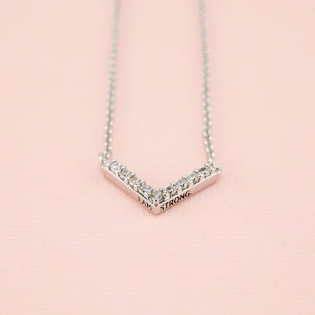 Silver I AM STRONG Chevron Necklace by Origami Owl at StoriedCharms.com