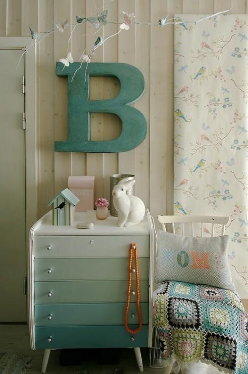 letra na decoração