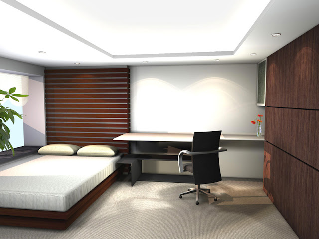 Fresh and Natural Office Style Ideas Fresh and Natural Office Style Ideas Small Bed Carpet Floor Office Desk Minimalist Japanese Interior Design for Bedroom