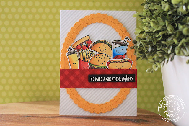 Sunny Studio Stamps: Background Basics Tone On Tone Stamping Fast Food Card by Eloise Blue