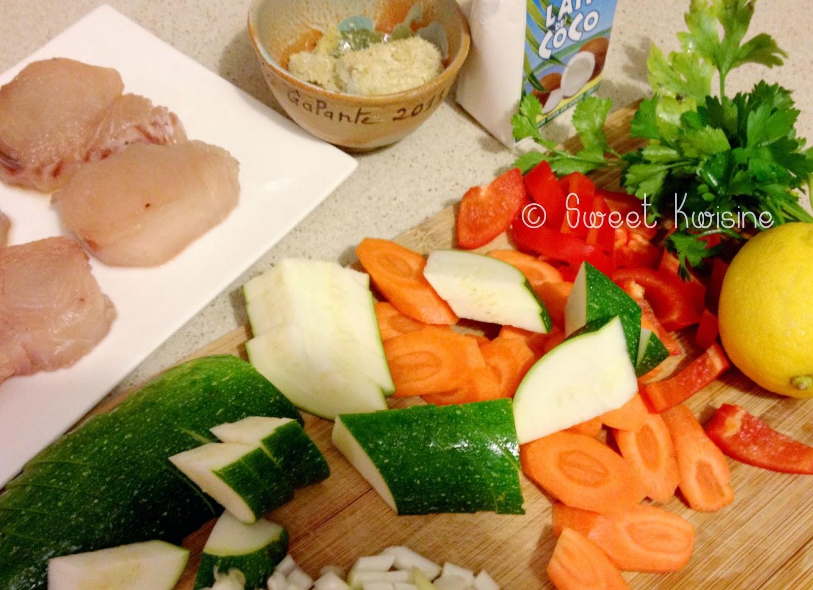 sweet kwisine, poisson, blanquette, lait de coco, cuisine asiatique, Laurent Mariotte, citron, légumes,