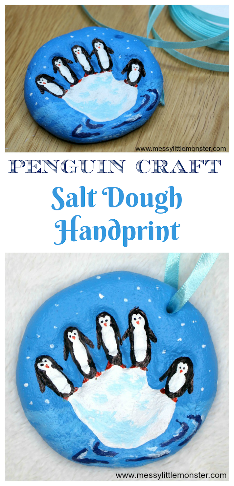 Salt dough handprint ornament. Penguin craft for kids. Winter craft. Winter activities for preschool