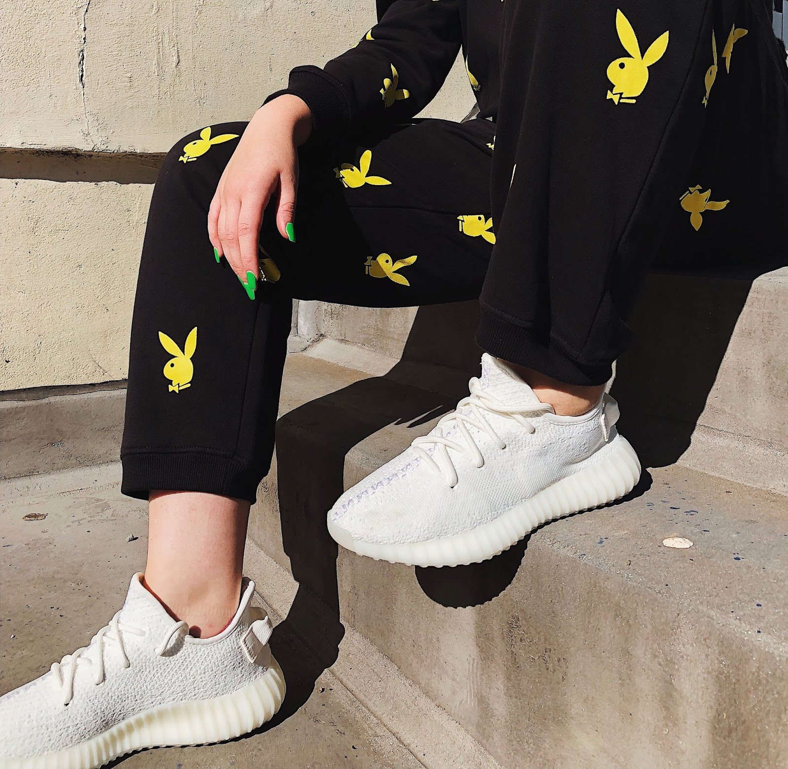 playboy x missguided, missguided playboy, playboy tracksuit, misguided tracksuit, yeezy boost 350 uk