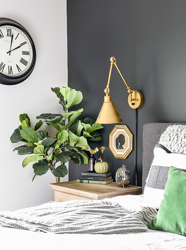 pumpkins on bedroom nightstand