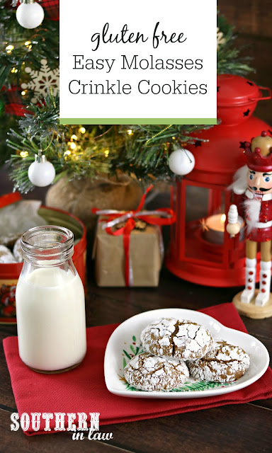 Easy Gluten Free Molasses Crinkle Cookies Recipe - gluten free, low fat, low sugar, healthier christmas recipes, gluten free christmas cookies