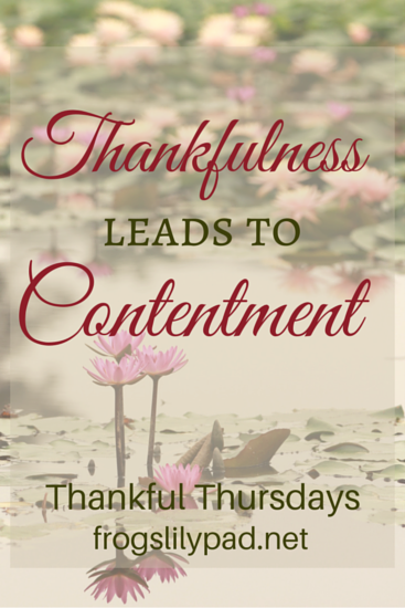 Thankfulness Leads to Contentment - Thankful Thursdays Linkup l frogslilypad.net