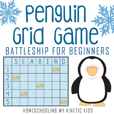 Penguin Grid Game for Early Elementary // Homeschooling My Kinetic Kids // math fun for everyone!