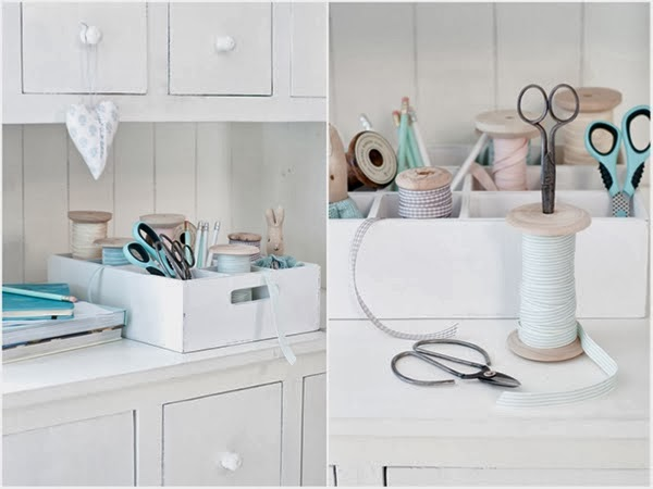 Minty house blog using a bottle crate as craft supply storage - for scissors and spools of ribbon