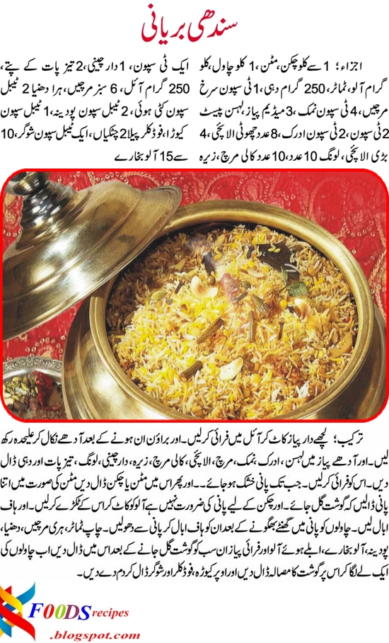 Kfoods recipes sindhi biryani recipe in urdu lets take you to the recipe watering your mouth with spicy imaginations of this recipe here is it with easy urdu forumfinder Gallery