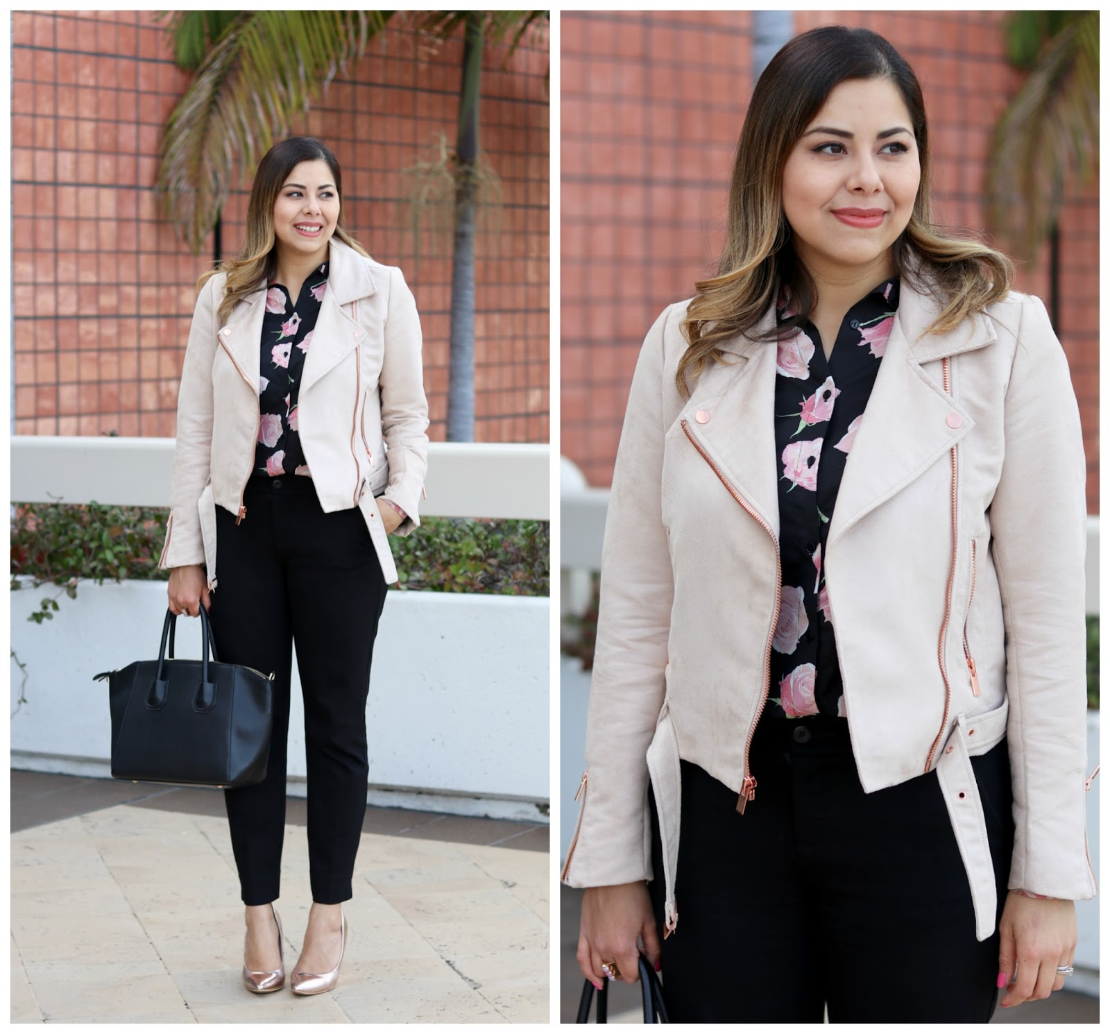 How to wear a blush moto jacket, bloggers in Neiman Marcus Fashion Valley, San Diego Fashion Valley blogger