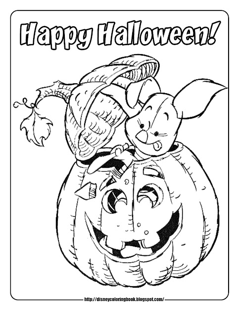 Halloween Coloring Pages Piglet Carving Pumpkin
