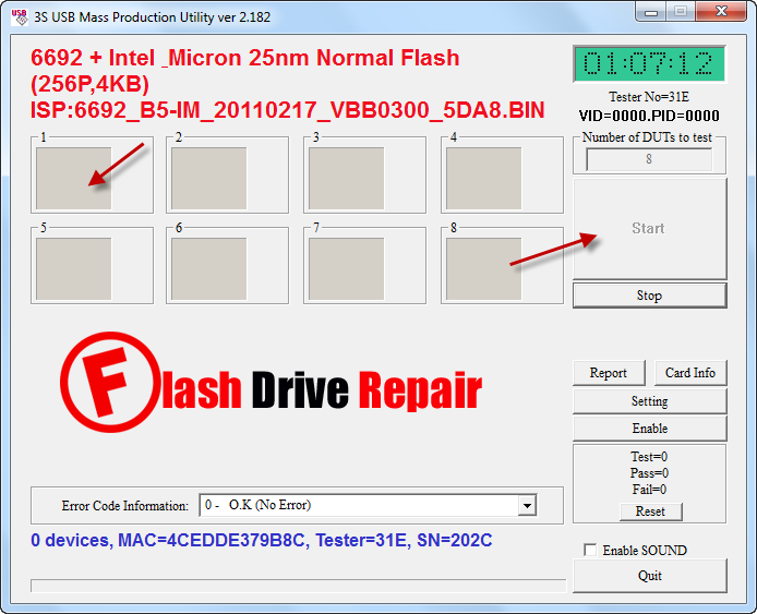 3S MP Utility V2.182 for SSS6692 recovery