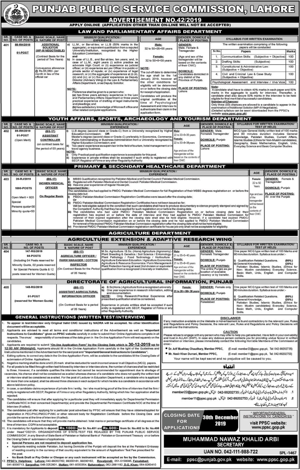 PPSC Jobs December 2019 Advertisement No 42/2019 (1067 Posts)