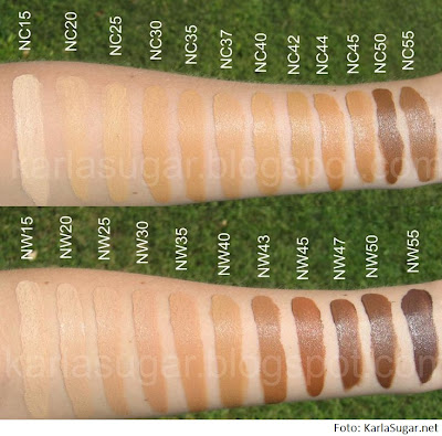 mac swatches cores