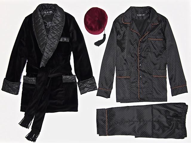 Mens black velvet smoking jacket warm quilted silk lounging robe vintage dressing gown