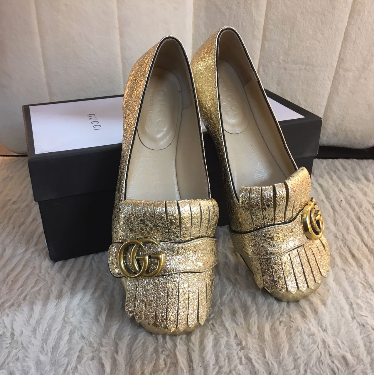 Kinda Kollection  Gucci Loafer Middle Heels Mirror Original Leather Shoes 4be84ae0af