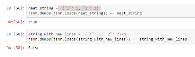 code demonstrating that loading and then dumping a json string with new lines removes them
