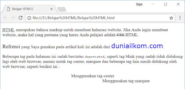 Tag-tag Yang Tidak Disarankan Lagi Untuk Digunakan (Deprecated) Pada HTML5 1