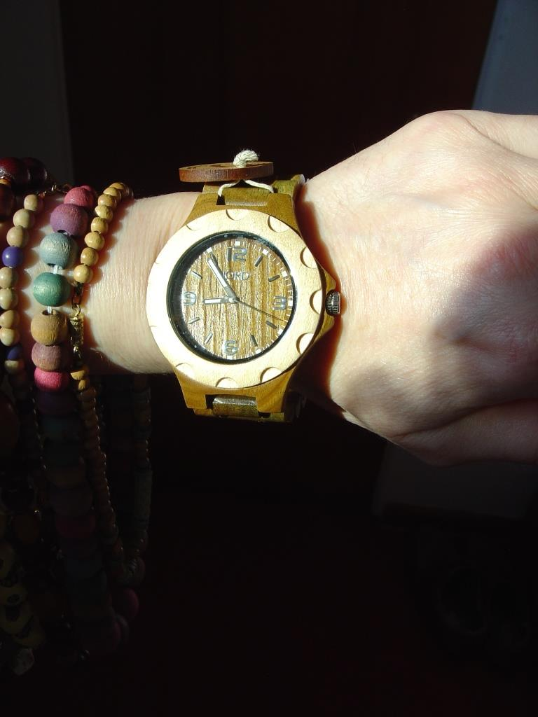 JORD Sully Natural Green wood watch up close