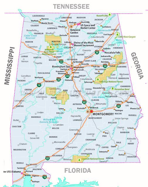 Gambar Peta Alabama 1