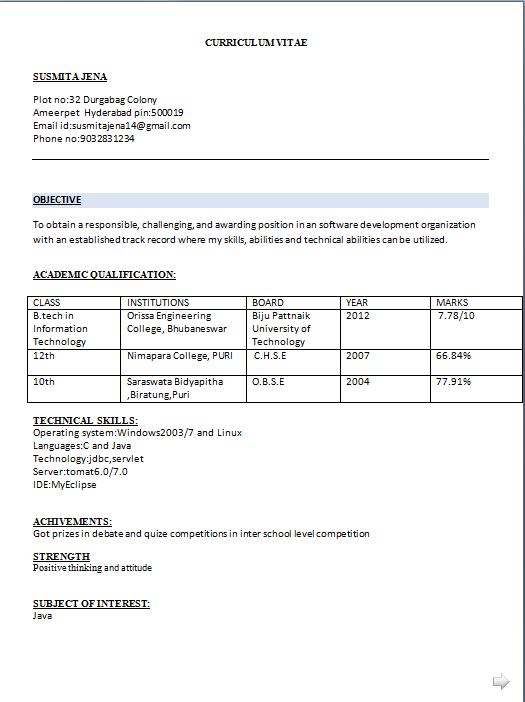 resume format for freshers b tech mechanical pdf
