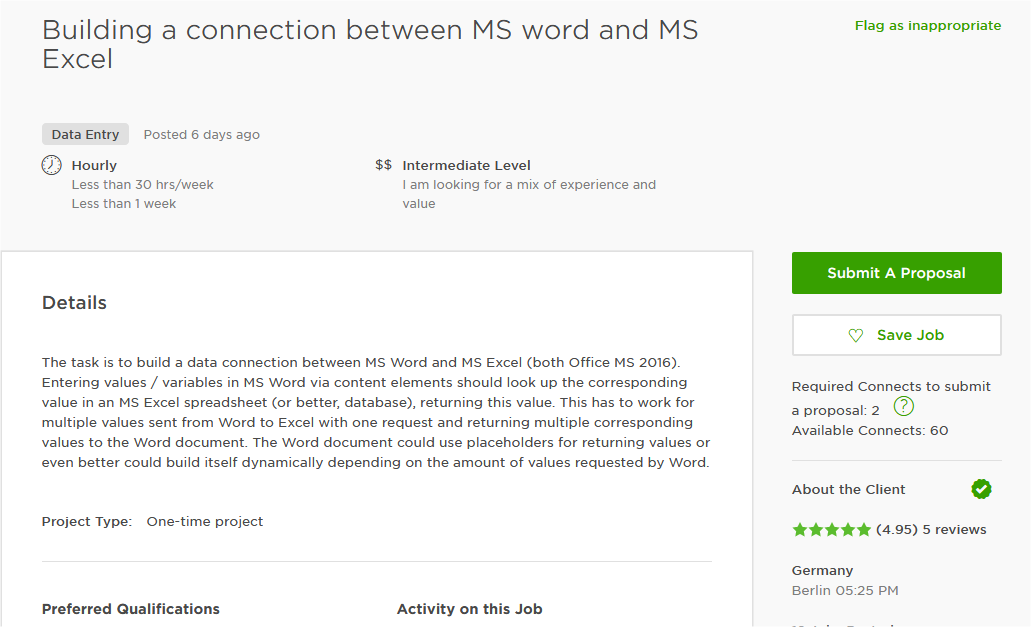 Cover Letter Sample For MS Excel, Spreadsheet