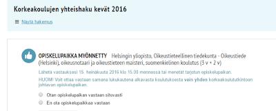 Opiskelupaikka myönnetty Helsingin oikikseen.