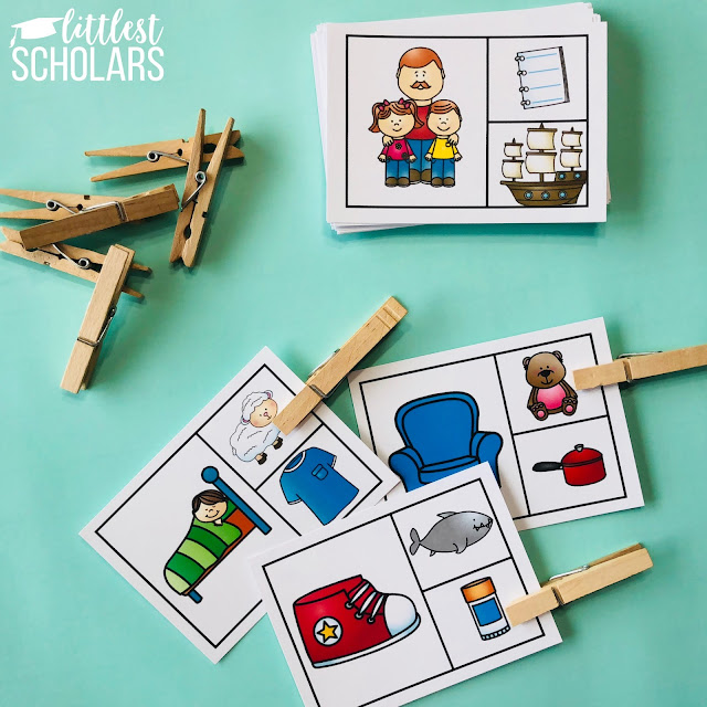 Use clothespins to indicate the rhyme on each card. These are a mix of fine motor and rhyming skills!