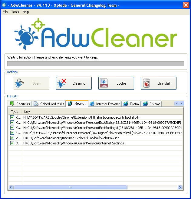 Cleaning with Adwcleaner