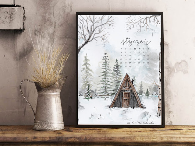 Kalendarz na styczeń 2018 do pobrania i wydrukowania za darmo, kalendarz dla kochających naturę, malowany ręcznie akwarelami. Moje nie-postanowienia na 2018 rok - tylko na blogu www.any-blog.pl