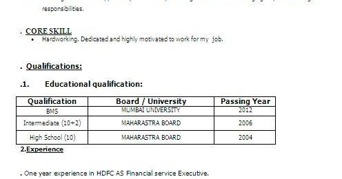 bachelor of management studies bms resume format in word