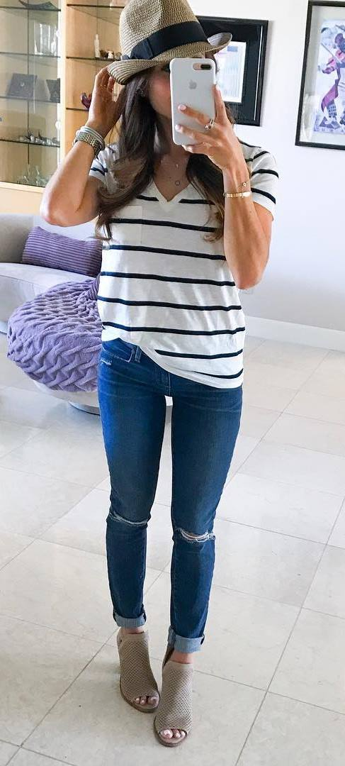 cool outfit idea: hat + top + ripped jeans