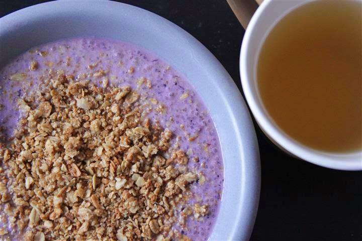 chia pudding and tea