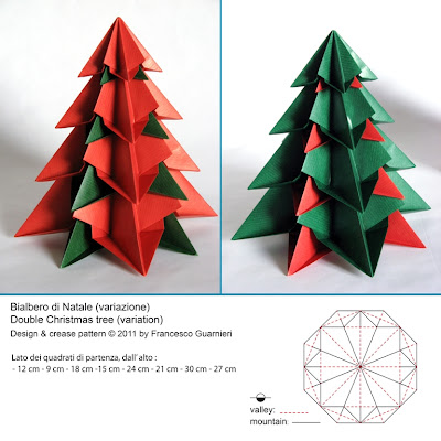 Origami Bialbero di Natale, variante - Double Christmas tree, variant