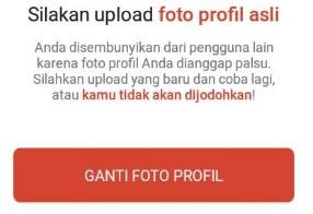 Silakan upload foto profil asli