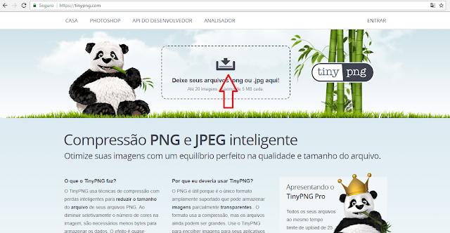 Site Tinypng para comprimir imagens