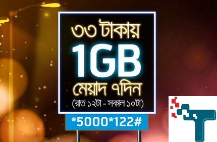 gp 33 tk 1GB night pack offer