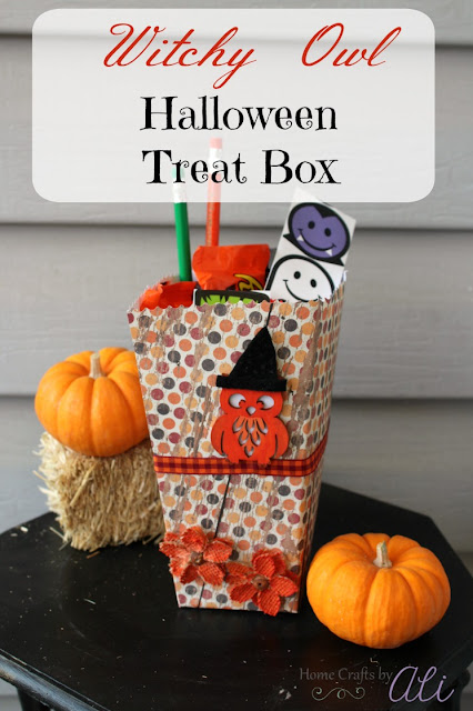 Halloween Treat Box made from a decorated popcorn box