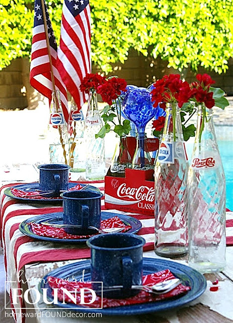red white and blue, junk, repurpose, summer, party decor, entertaining, Memorial Day, Labor Day, Fourth of July, tablescape,  homewardFOUNDdecor.com
