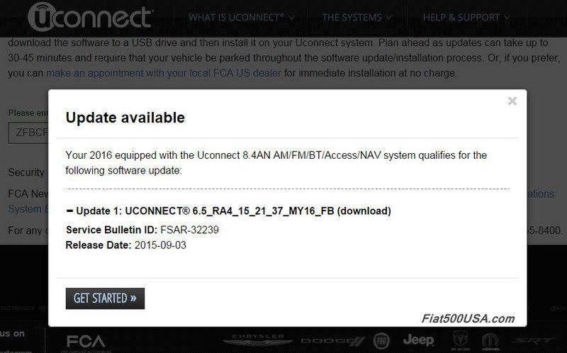 Fiat 500X Uconnect Software Update   Fiat 500 USA