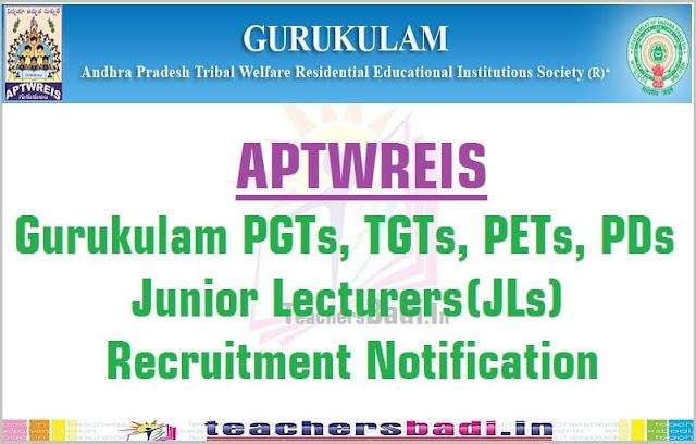APTWREIS,Gurukulam Teachers,Junior Lecturers,Recruitment Notification