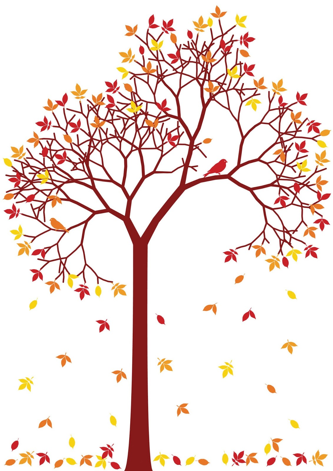 clip art of tree with falling leaves - photo #6