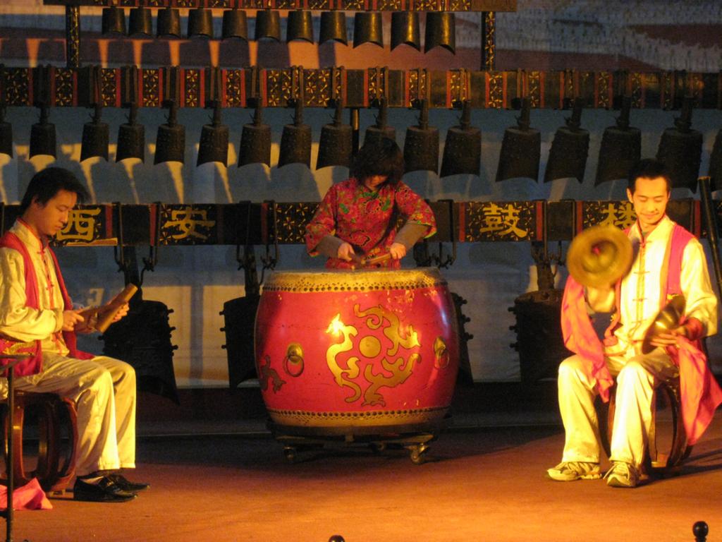 Músicos chineses tocando tambor e outros instrumentos musicais ilustra este post sobre o Shijing, o Livro das Canções.