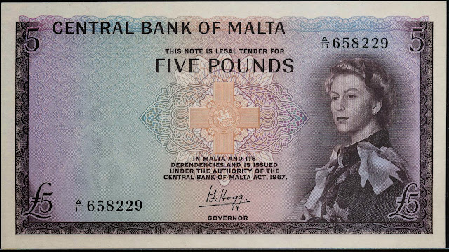 Malta Banknotes 5 Pounds banknote 1967 Queen Elizabeth II and the George Cross