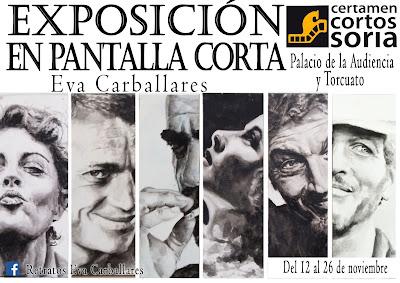 """Cartel de la exposición """"En pantalla corta"""" de Eva Carballares"""